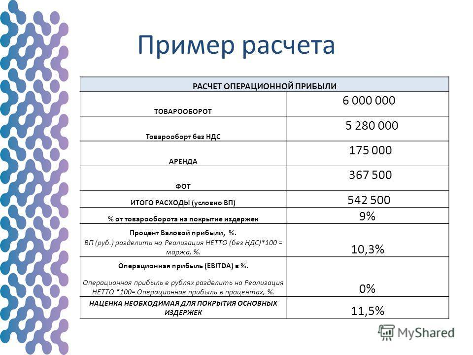 Пример расчета РАСЧЕТ ОПЕРАЦИОННОЙ ПРИБЫЛИ ТОВАРООБОРОТ 6 000 000 Товарооборт без НДС 5 280 000 АРЕНДА 175 000 ФОТ 367 500 ИТОГО РАСХОДЫ (условно ВП) 542 500 % от товарооборота на покрытие издержек 9% Процент Валовой прибыли, %. 10,3% ВП (руб.) разде