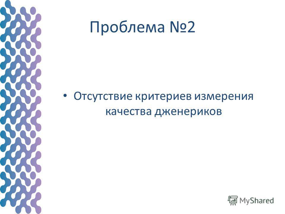 Проблема 2 Отсутствие критериев измерения качества дженериков