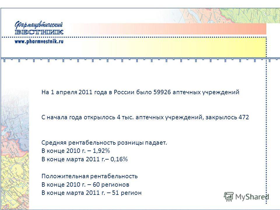 На 1 апреля 2011 года в России было 59926 аптечных учреждений С начала года открылось 4 тыс. аптечных учреждений, закрылось 472 Средняя рентабельность розницы падает. В конце 2010 г. – 1,92% В конце марта 2011 г.– 0,16% Положительная рентабельность В