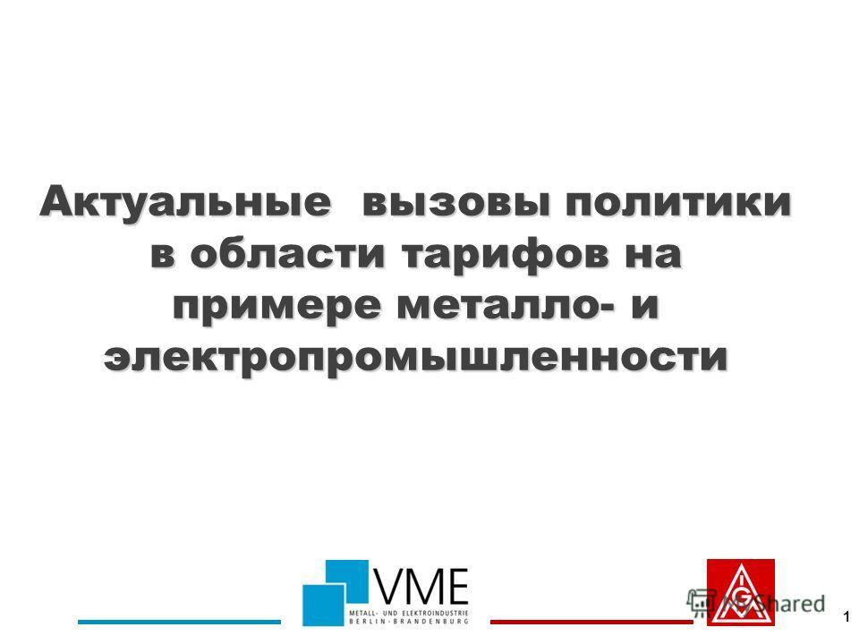 Актуальные вызовы политики в области тарифов на примере металло- и электропромышленности 1
