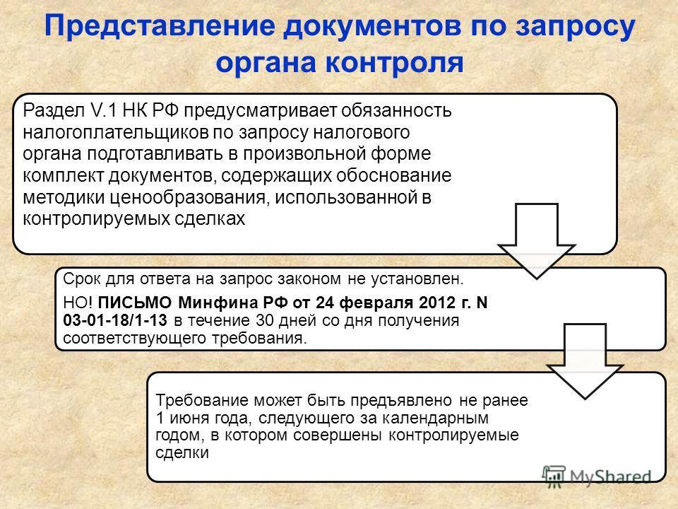 Представление документов по запросу органа контроля Раздел V.1 НК РФ предусматривает обязанность налогоплательщиков по запросу налогового органа подготавливать в произвольной форме комплект документов, содержащих обоснование методики ценообразования,