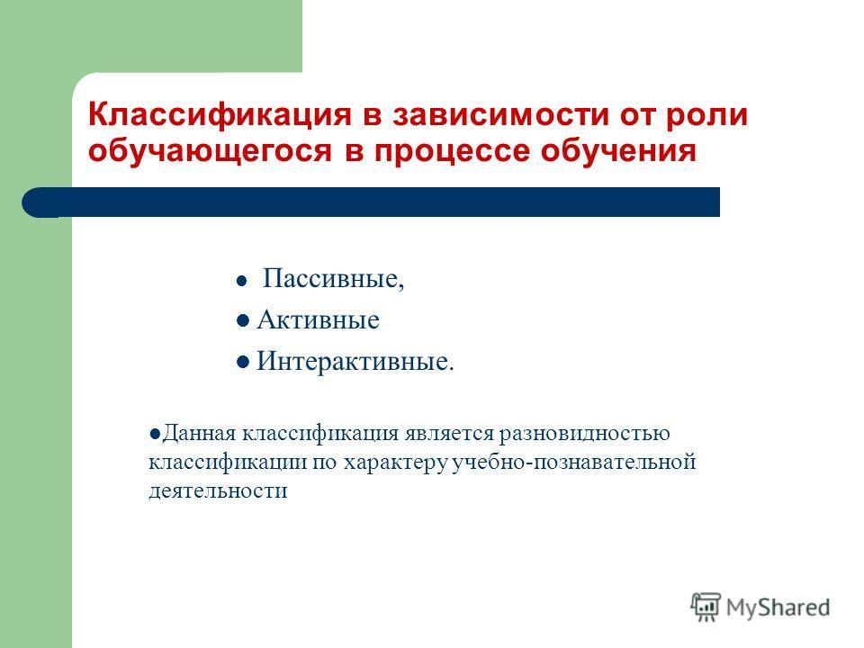 Классификация в зависимости от роли обучающегося в процессе обучения Пассивные, Активные Интерактивные. Данная классификация является разновидностью классификации по характеру учебно-познавательной деятельности