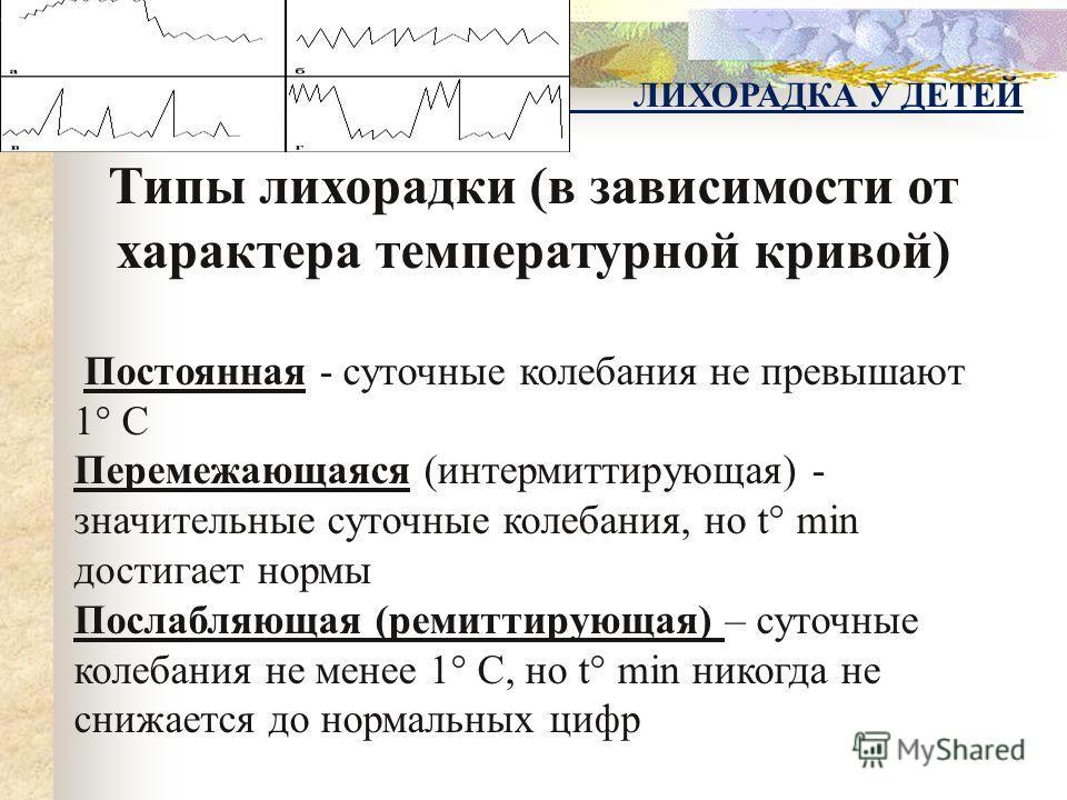 Типы лихорадки (в зависимости от характера температурной кривой) Постоянная - суточные колебания не превышают 1° С Перемежающаяся (интермиттирующая) - значительные суточные колебания, но t° min достигает нормы Послабляющая (ремиттирующая) – суточные