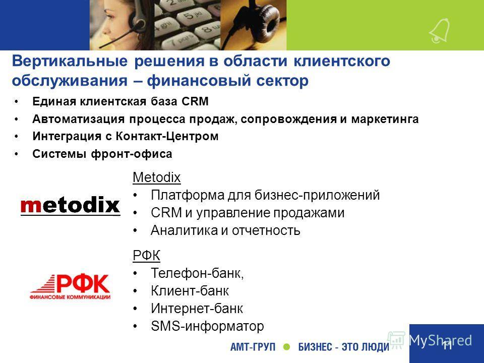 11 Единая клиентская база CRM Автоматизация процесса продаж, сопровождения и маркетинга Интеграция с Контакт-Центром Системы фронт-офиса Metodix Платформа для бизнес-приложений CRM и управление продажами Аналитика и отчетность РФК Телефон-банк, Клиен