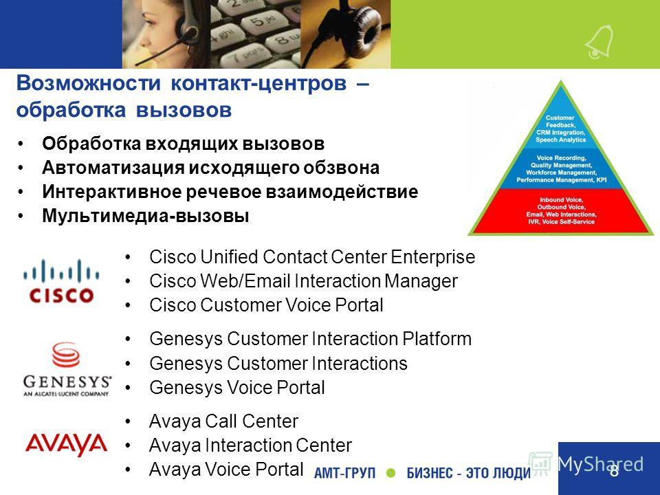 8 Возможности контакт-центров – обработка вызовов Обработка входящих вызовов Автоматизация исходящего обзвона Интерактивное речевое взаимодействие Мультимедиа-вызовы Cisco Unified Contact Center Enterprise Cisco Web/Email Interaction Manager Cisco Cu