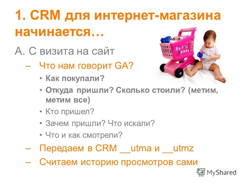 1. CRM для интернет-магазина начинается… A.C визита на сайт –Что нам говорит GA? Как покупали? Откуда пришли? Сколько стоили? (метим, метим все) Кто пришел? Зачем пришли? Что искали? Что и как смотрели? –Передаем в CRM __utma и __utmz –Считаем истори