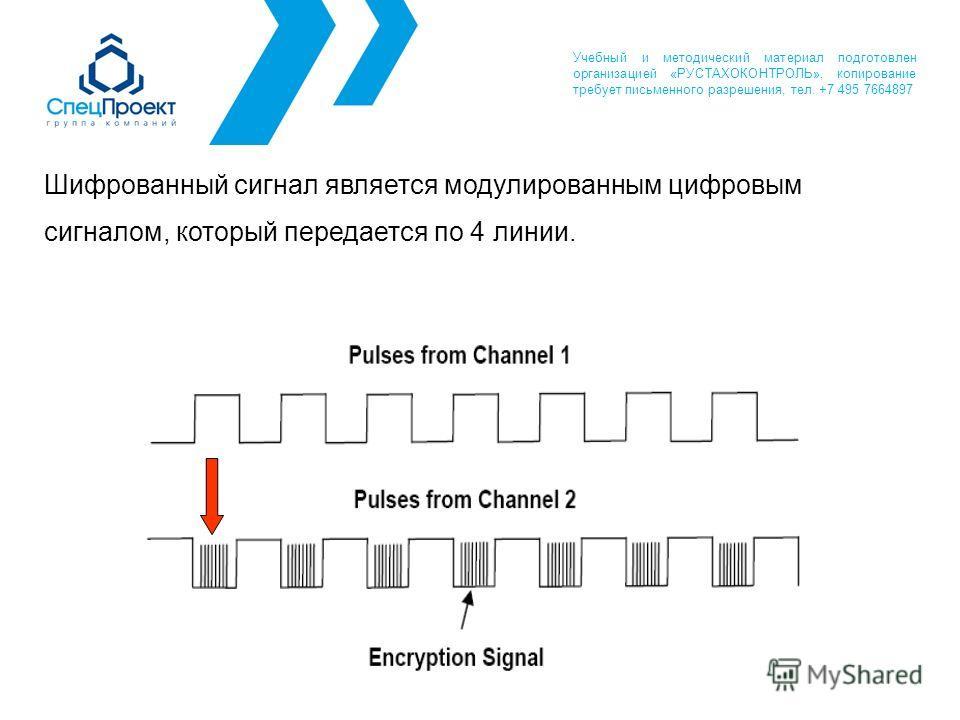 Шифрованный сигнал является модулированным цифровым сигналом, который передается по 4 линии. Учебный и методический материал подготовлен организацией «РУСТАХОКОНТРОЛЬ», копирование требует письменного разрешения, тел. +7 495 7664897