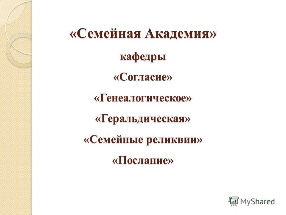«Семейная Академия» кафедры «Согласие» «Генеалогическое» «Геральдическая» «Семейные реликвии» «Послание»