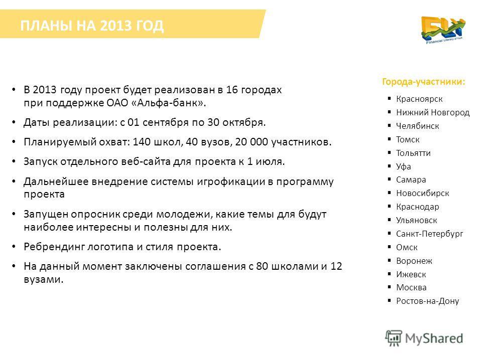 В 2013 году проект будет реализован в 16 городах при поддержке ОАО «Альфа-банк». Даты реализации: с 01 сентября по 30 октября. Планируемый охват: 140 школ, 40 вузов, 20 000 участников. Запуск отдельного веб-сайта для проекта к 1 июля. Дальнейшее внед