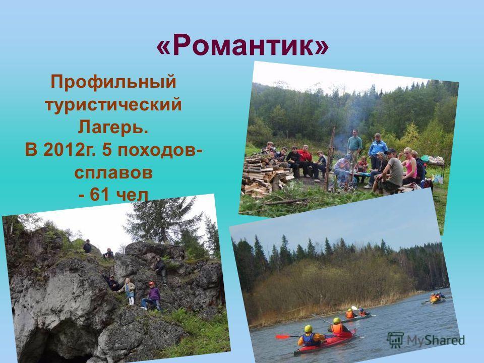 «Романтик» Профильный туристический Лагерь. В 2012г. 5 походов- сплавов - 61 чел