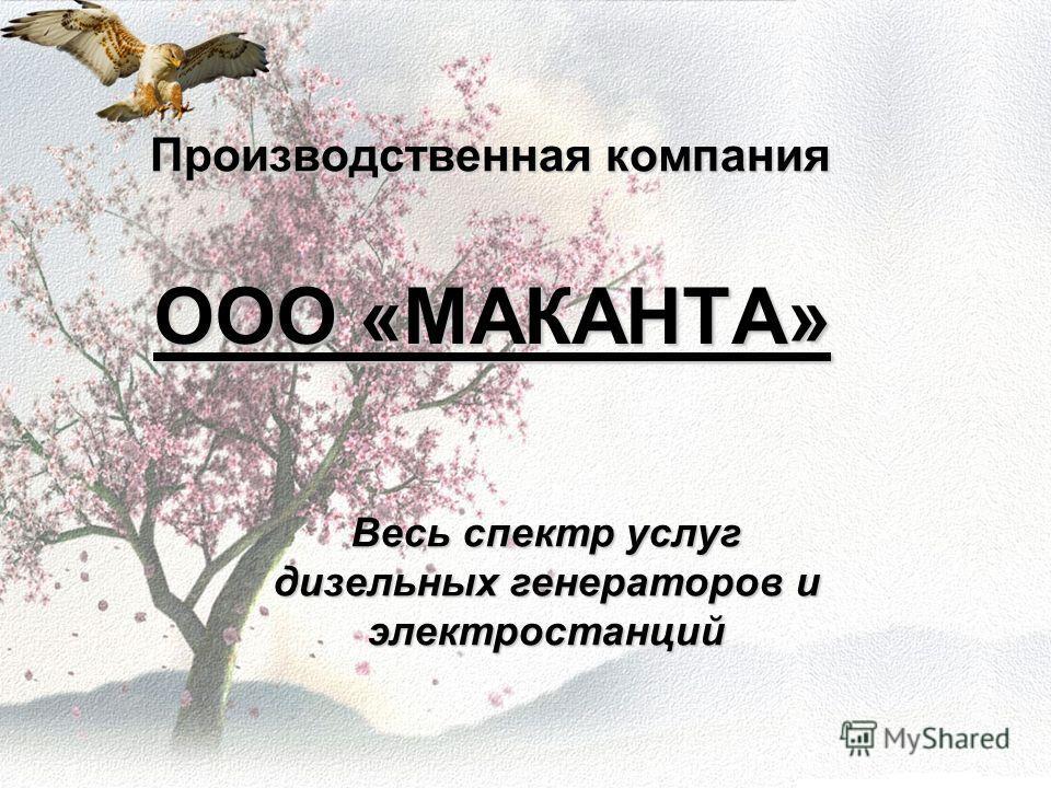 Производственная компания ООО «МАКАНТА» Весь спектр услуг дизельных генераторов и электростанций