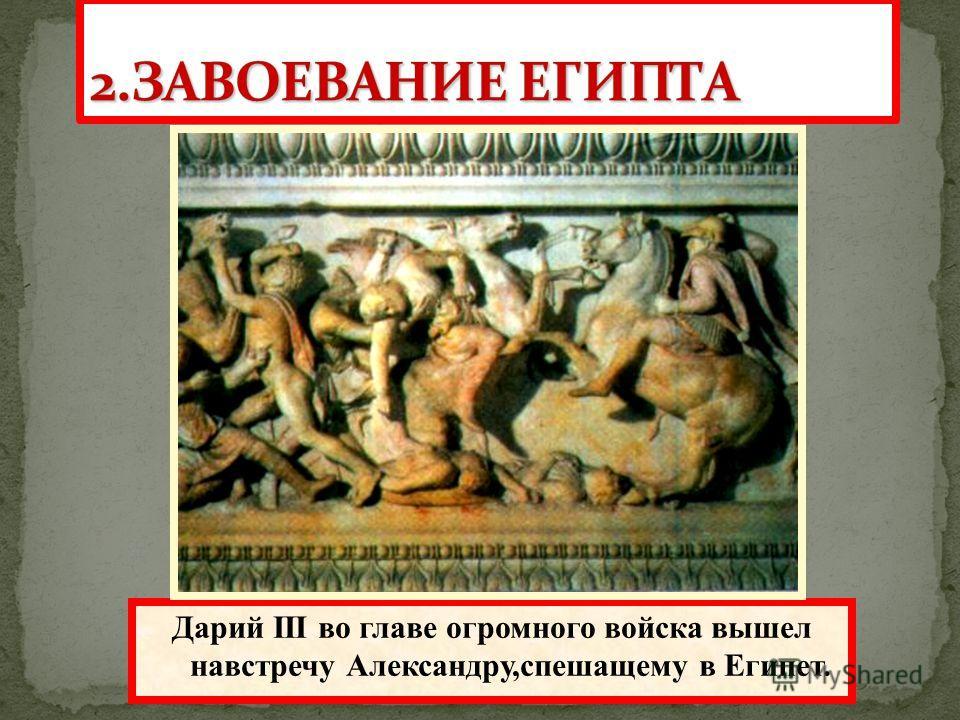 Одержав победу, Александр вторгся в Малую Азию и легко покорял один город за другим. Дарий III во главе огромного войска вышел навстречу Александру,спешащему в Египет.