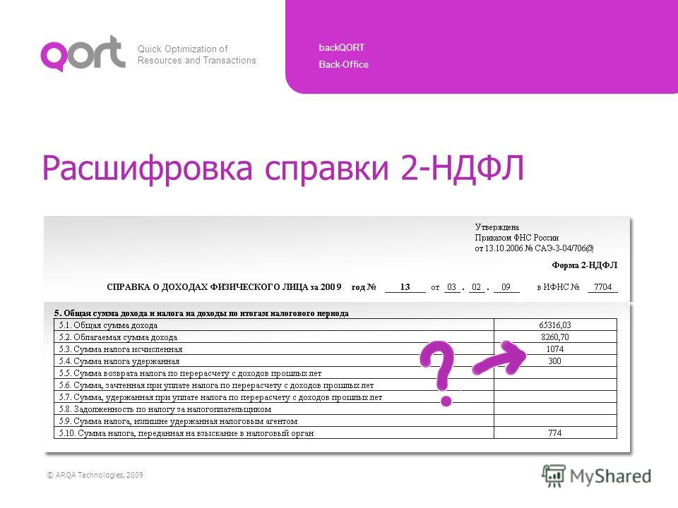 Quick Optimization of Resources and Transactions backQORT Back-Office © ARQA Technologies, 2009 Расшифровка справки 2-НДФЛ