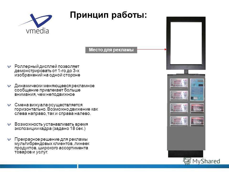 Роллерный дисплей позволяет демонстрировать от 1-го до 3-х изображений на одной стороне Динамически меняющееся рекламное сообщение привлекает больше внимания, чем неподвижное Смена вижуала осуществляется горизонтально. Возможно движение как слева нап