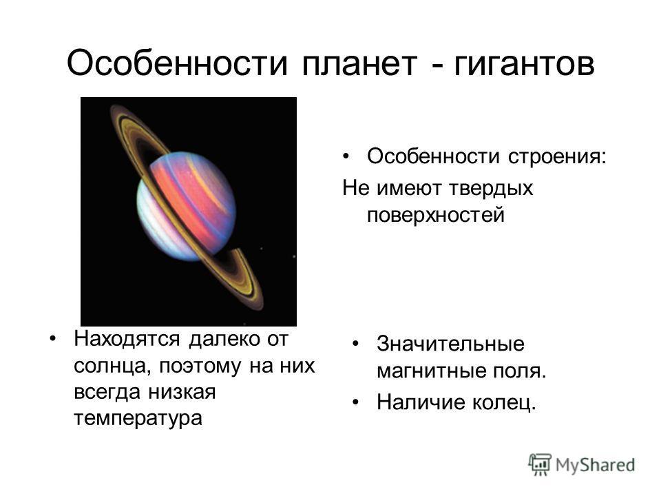 Особенности планет - гигантов Особенности строения: Не имеют твердых поверхностей Находятся далеко от солнца, поэтому на них всегда низкая температура Значительные магнитные поля. Наличие колец.