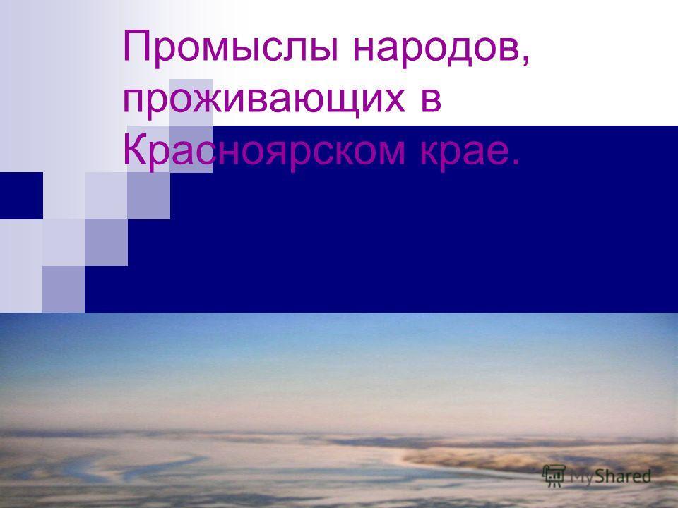 Промыслы народов, проживающих в Красноярском крае.
