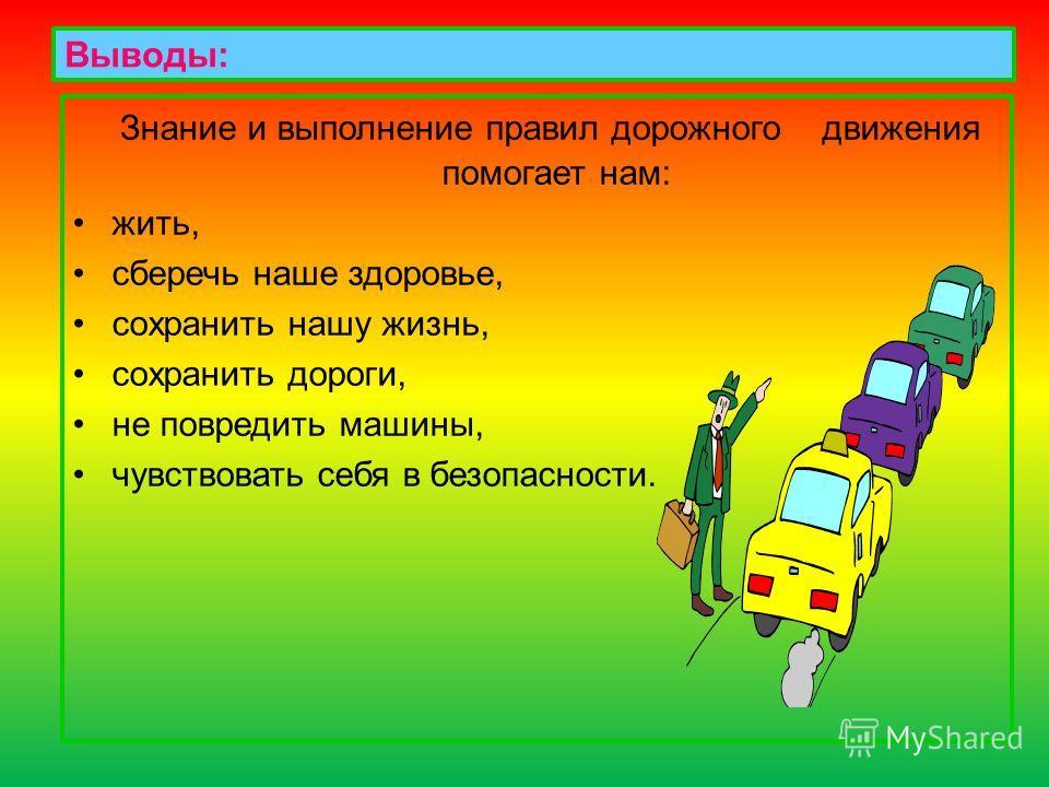 Выводы: Знание и выполнение правил дорожного движения помогает нам: жить, сберечь наше здоровье, сохранить нашу жизнь, сохранить дороги, не повредить машины, чувствовать себя в безопасности.