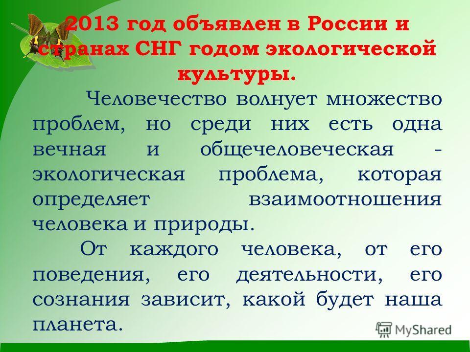 2013 год объявлен в России и странах СНГ годом экологической культуры. Человечество волнует множество проблем, но среди них есть одна вечная и общечеловеческая - экологическая проблема, которая определяет взаимоотношения человека и природы. От каждог