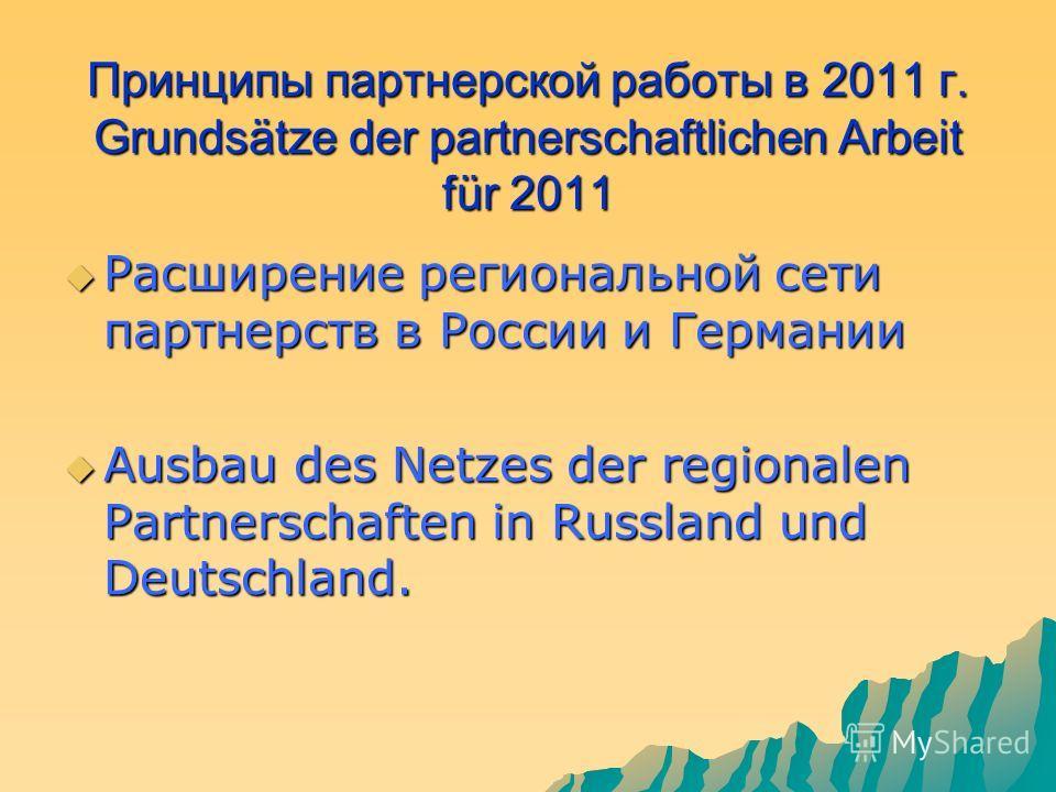 Принципы партнерской работы в 2011 г. Grundsätze der partnerschaftlichen Arbeit für 2011 Расширение региональной сети партнерств в России и Германии Расширение региональной сети партнерств в России и Германии Ausbau des Netzes der regionalen Partners