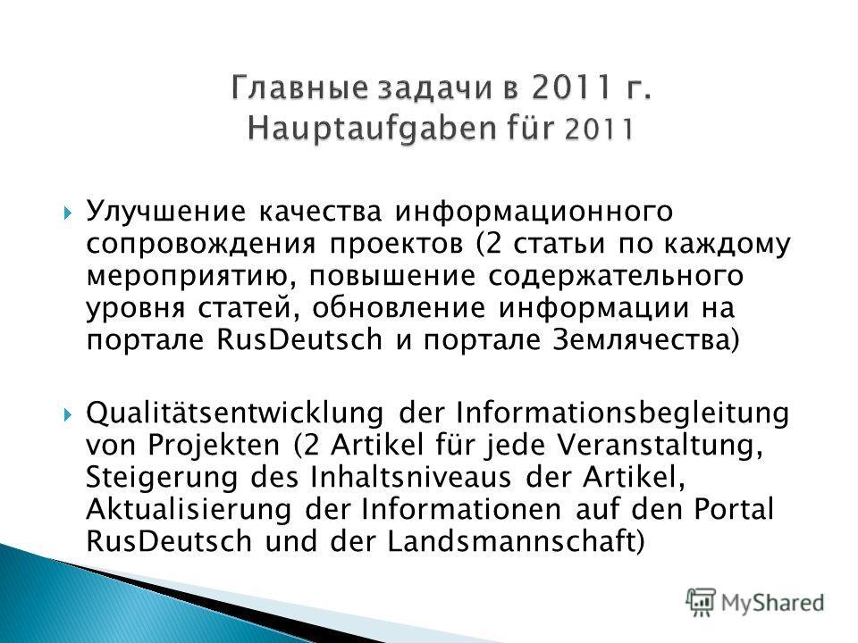 Улучшение качества информационного сопровождения проектов (2 статьи по каждому мероприятию, повышение содержательного уровня статей, обновление информации на портале RusDeutsch и портале Землячества) Qualitätsentwicklung der Informationsbegleitung vo