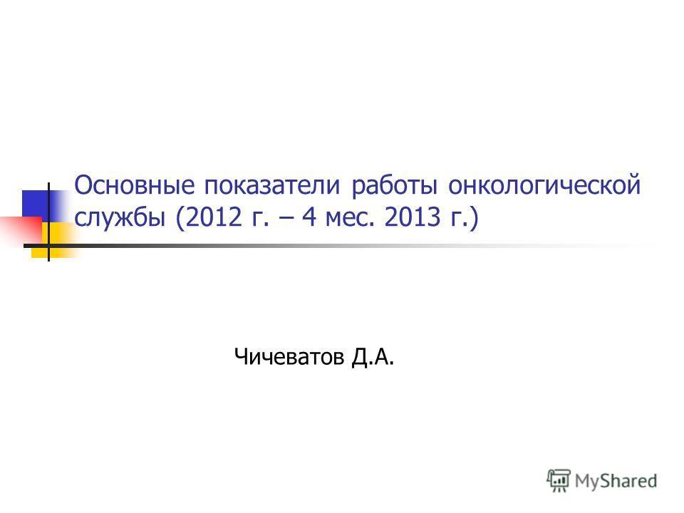 Основные показатели работы онкологической службы (2012 г. – 4 мес. 2013 г.) Чичеватов Д.А.
