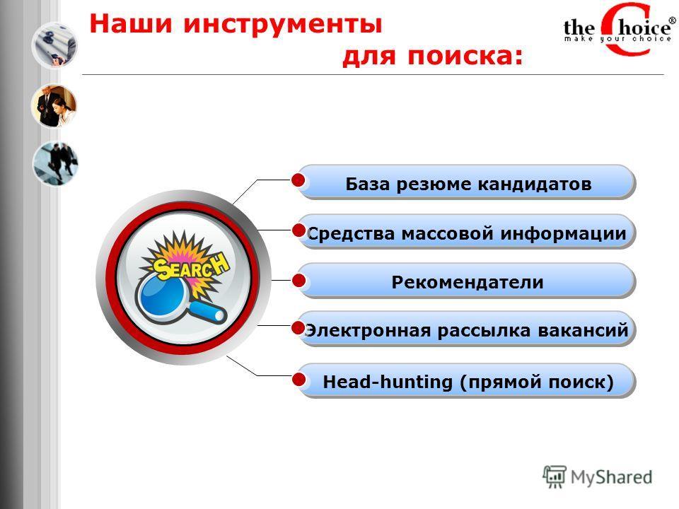 Наши инструменты для поиска: База резюме кандидатов Средства массовой информации Рекомендатели Электронная рассылка вакансий Head-hunting (прямой поиск)