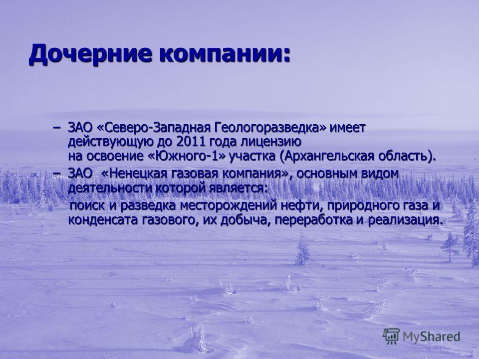 Дочерние компании: –ЗАО «Северо-Западная Геологоразведка» имеет действующую до 2011 года лицензию на освоение «Южного-1» участка (Архангельская область). –ЗАО «Ненецкая газовая компания», основным видом деятельности которой является: поиск и разведка
