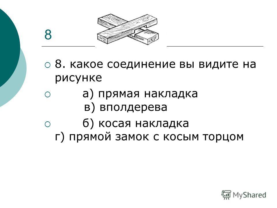 8 8. какое соединение вы видите на рисунке а) прямая накладка в) вполдерева б) косая накладка г) прямой замок с косым торцом