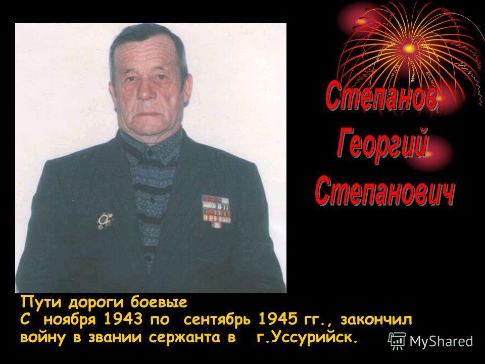Пути дороги боевые С ноября 1943 по сентябрь 1945 гг., закончил войну в звании сержанта в г.Уссурийск.