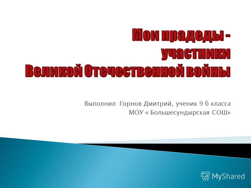 Выполнил: Горнов Дмитрий, ученик 9 б класса МОУ « Большесундырская СОШ»