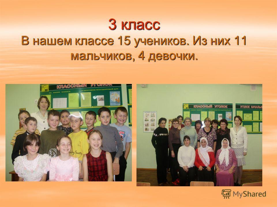 3 класс В нашем классе 15 учеников. Из них 11 мальчиков, 4 девочки.