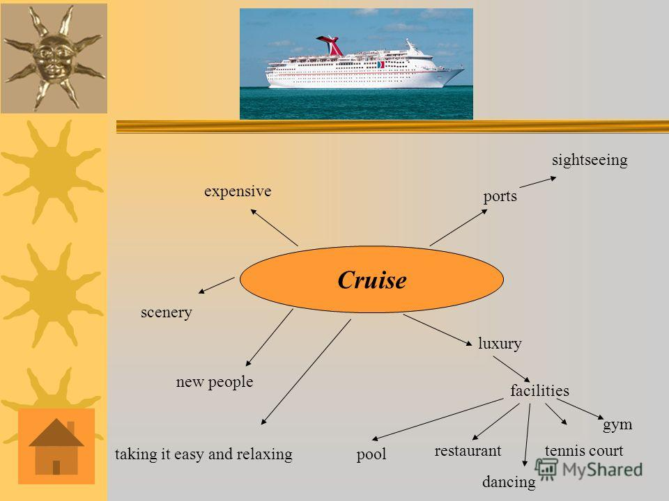 Cruise luxury facilities pool restauranttennis court ports sightseeing expensive new people dancing gym scenery taking it easy and relaxing