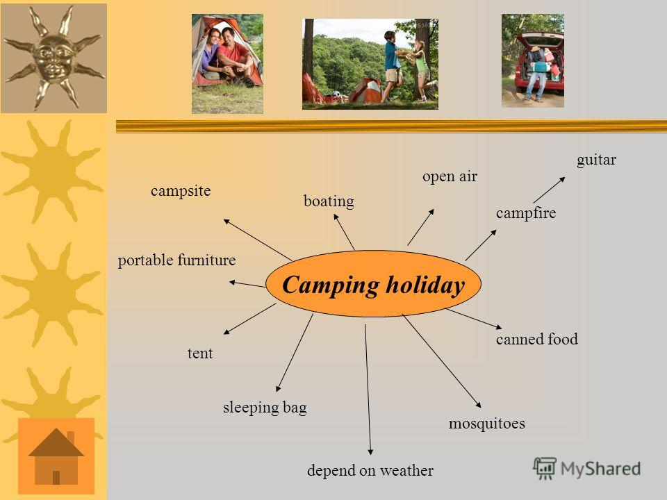 Camping holiday campsite boating tent sleeping bag mosquitoes open air campfire guitar canned food portable furniture depend on weather
