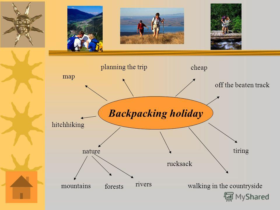 Backpacking holiday mountains nature forests rivers rucksack map planning the trip cheap off the beaten track walking in the countryside tiring hitchhiking