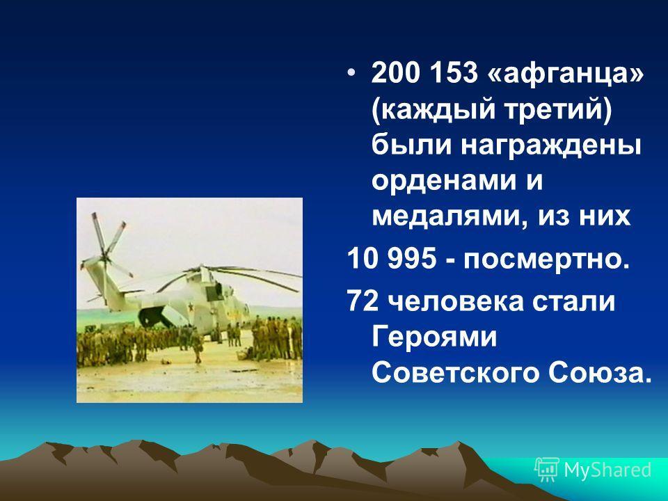 200 153 «афганца» (каждый третий) были награждены орденами и медалями, из них 10 995 - посмертно. 72 человека стали Героями Советского Союза.