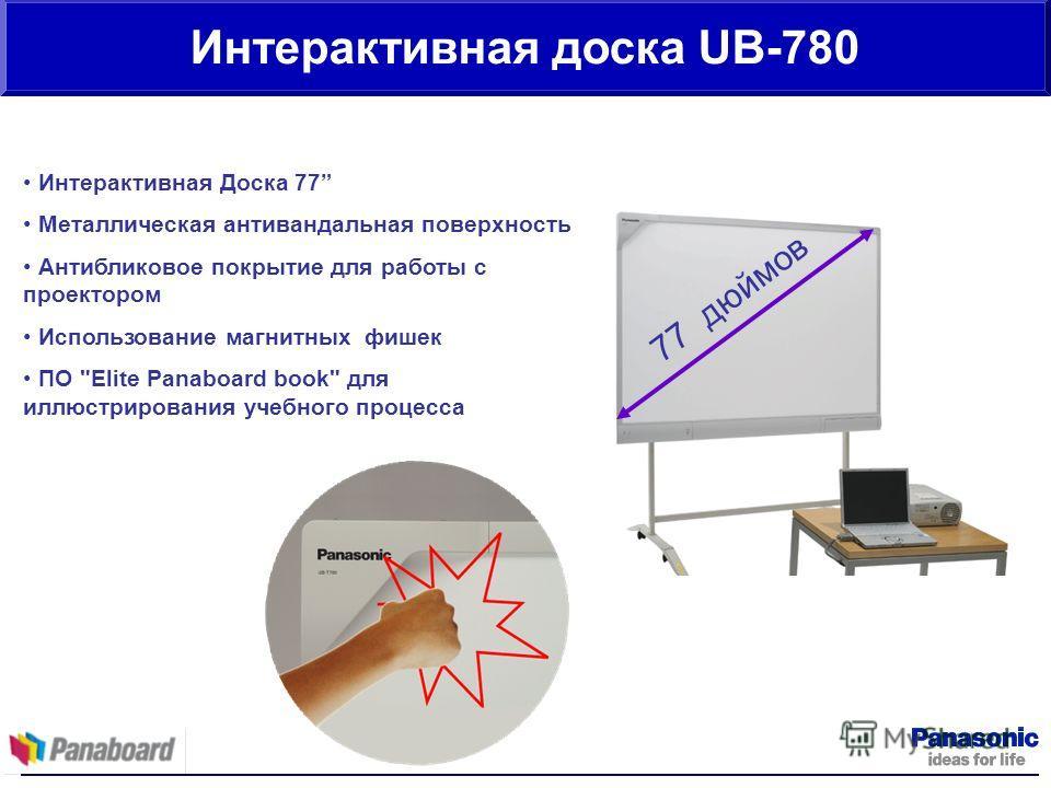 Интерактивная доска UB-780 Интерактивная Доска 77 Металлическая антивандальная поверхность Антибликовое покрытие для работы с проектором Использование магнитных фишек ПО Elite Panaboard book для иллюстрирования учебного процесса 77 дюймов