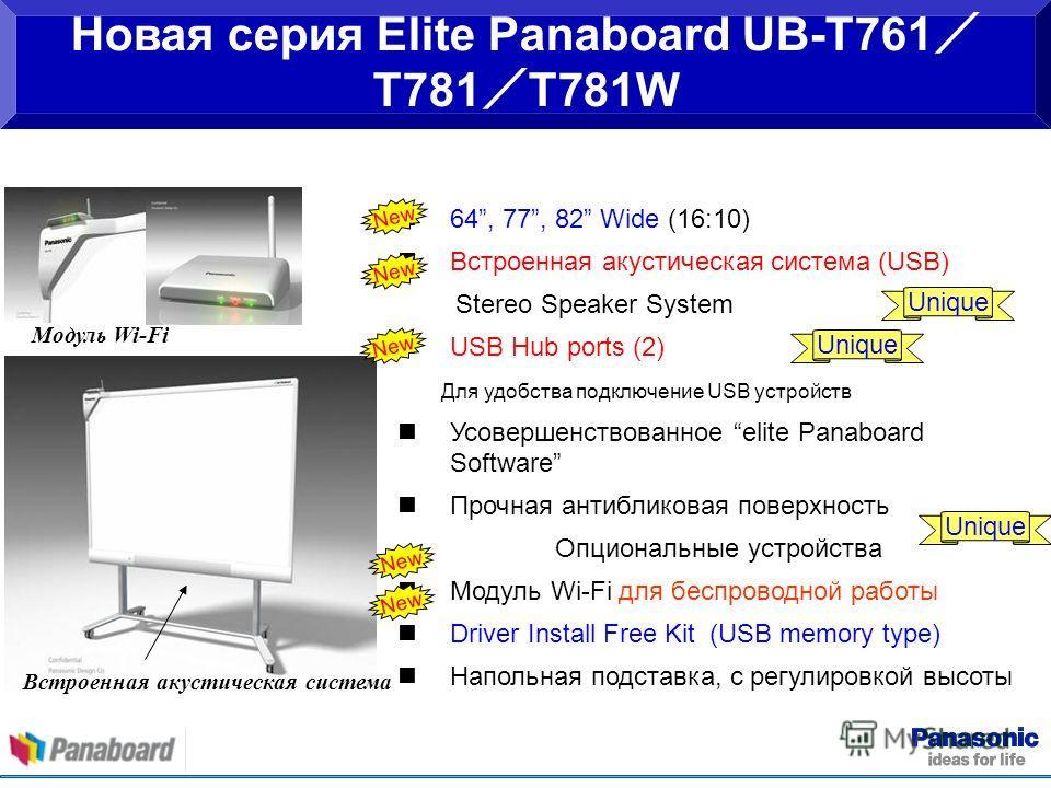 64, 77, 82 Wide (16:10) Встроенная акустическая система (USB) Stereo Speaker System USB Hub ports (2) Для удобства подключение USB устройств Усовершенствованное elite Panaboard Software Прочная антибликовая поверхность Опциональные устройства Модуль
