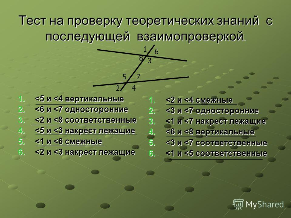 Тест на проверку теоретических знаний с последующей взаимопроверкой. 1.