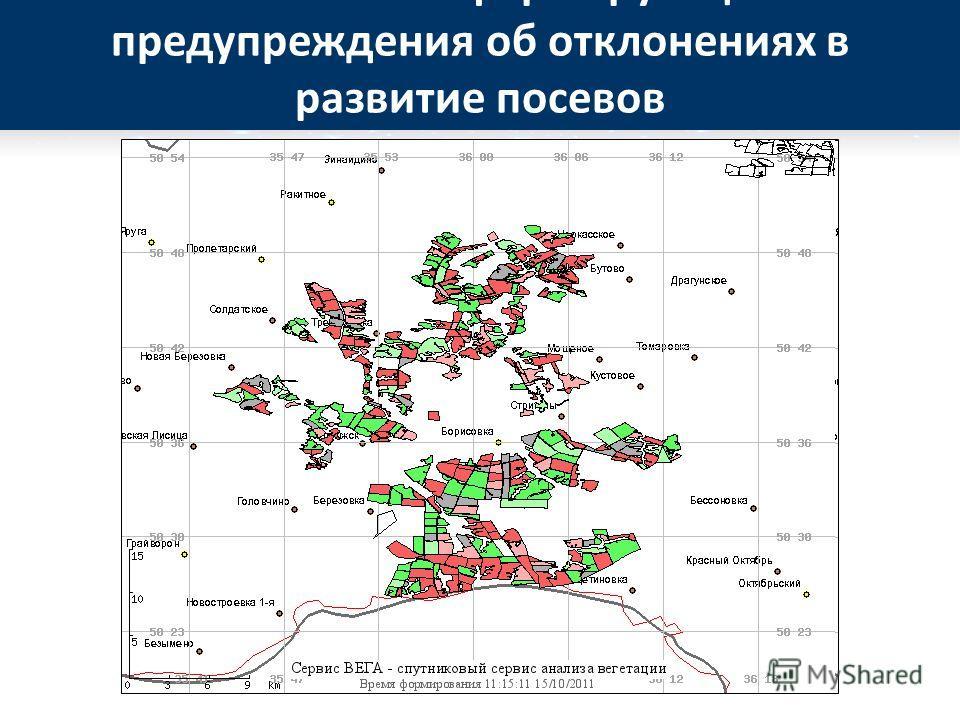 Автоматически формирующиеся предупреждения об отклонениях в развитие посевов