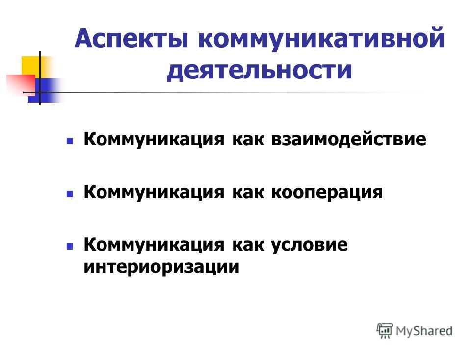 Аспекты коммуникативной деятельности Коммуникация как взаимодействие Коммуникация как кооперация Коммуникация как условие интериоризации