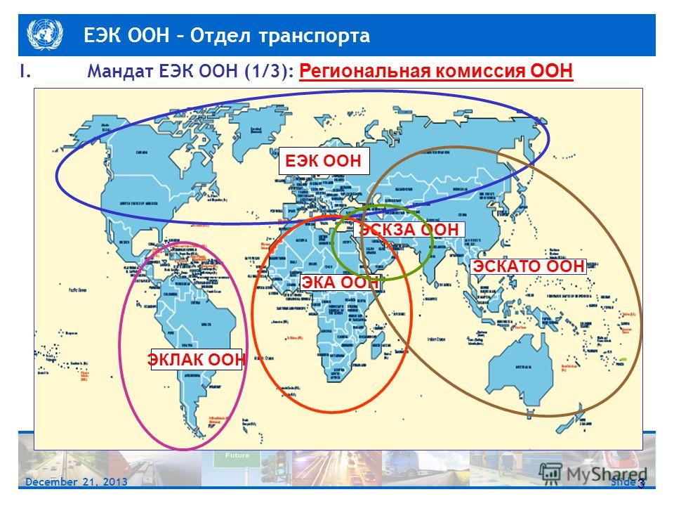 ЕЭК ООН – Отдел транспорта Slide 3December 21, 2013 ESCWA 3 ЕЭК ООН ЭКЛАК ООН ЭКА ООН ЭСКАТО ООН ЭСКЗА ООН I.Мандат ЕЭК ООН (1/3): Региональная комиссия ООН