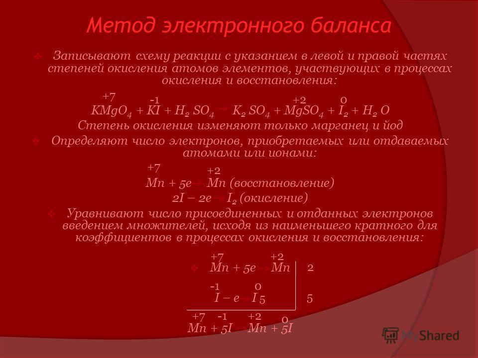 Метод электронного баланса Записывают схему реакции с указанием в левой и правой частях степеней окисления атомов элементов, участвующих в процессах окисления и восстановления: KMgO 4 + KI + H 2 SO 4 K 2 SO 4 + MgSO 4 + I 2 + H 2 O Степень окисления