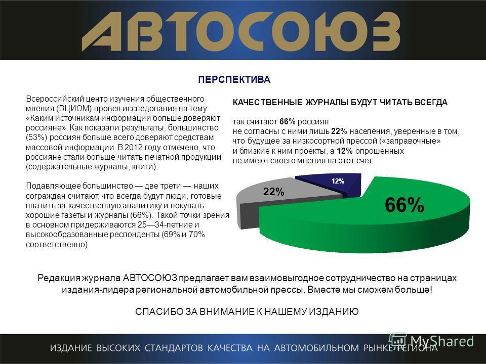 ПЕРСПЕКТИВА Всероссийский центр изучения общественного мнения (ВЦИОМ) провел исследования на тему «Каким источникам информации больше доверяют россияне». Как показали результаты, большинство (53%) россиян больше всего доверяют средствам массовой инфо