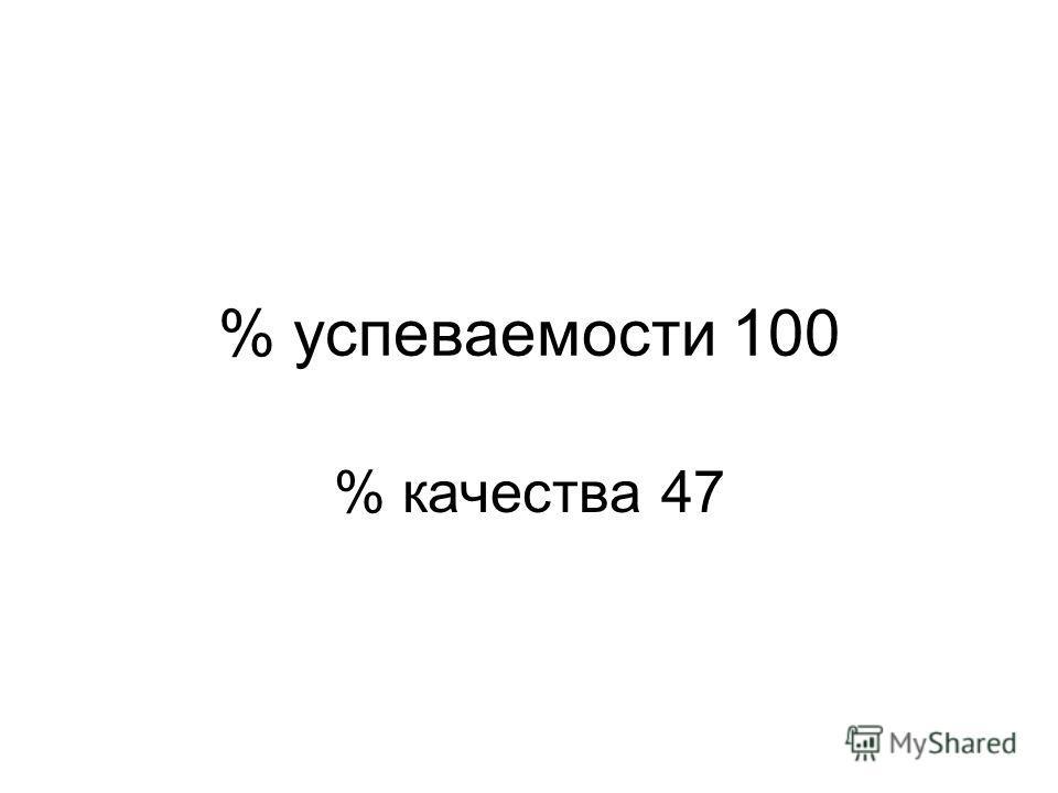 % успеваемости 100 % качества 47