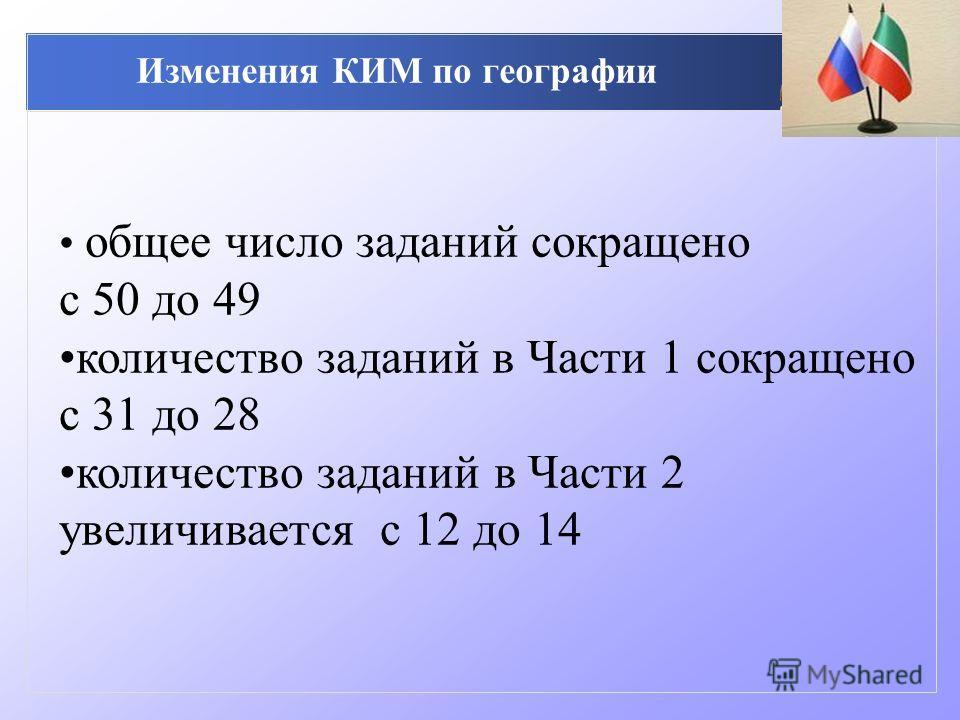 Изменения КИМ по географии общее число заданий сокращено с 50 до 49 количество заданий в Части 1 сокращено с 31 до 28 количество заданий в Части 2 увеличивается с 12 до 14