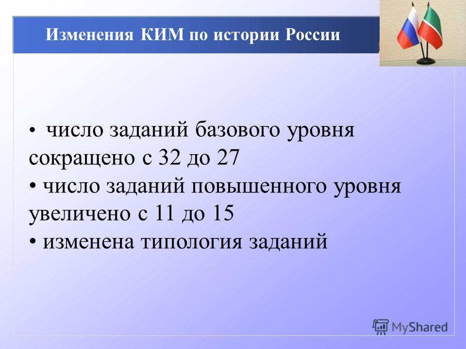 Изменения КИМ по истории России число заданий базового уровня сокращено с 32 до 27 число заданий повышенного уровня увеличено с 11 до 15 изменена типология заданий