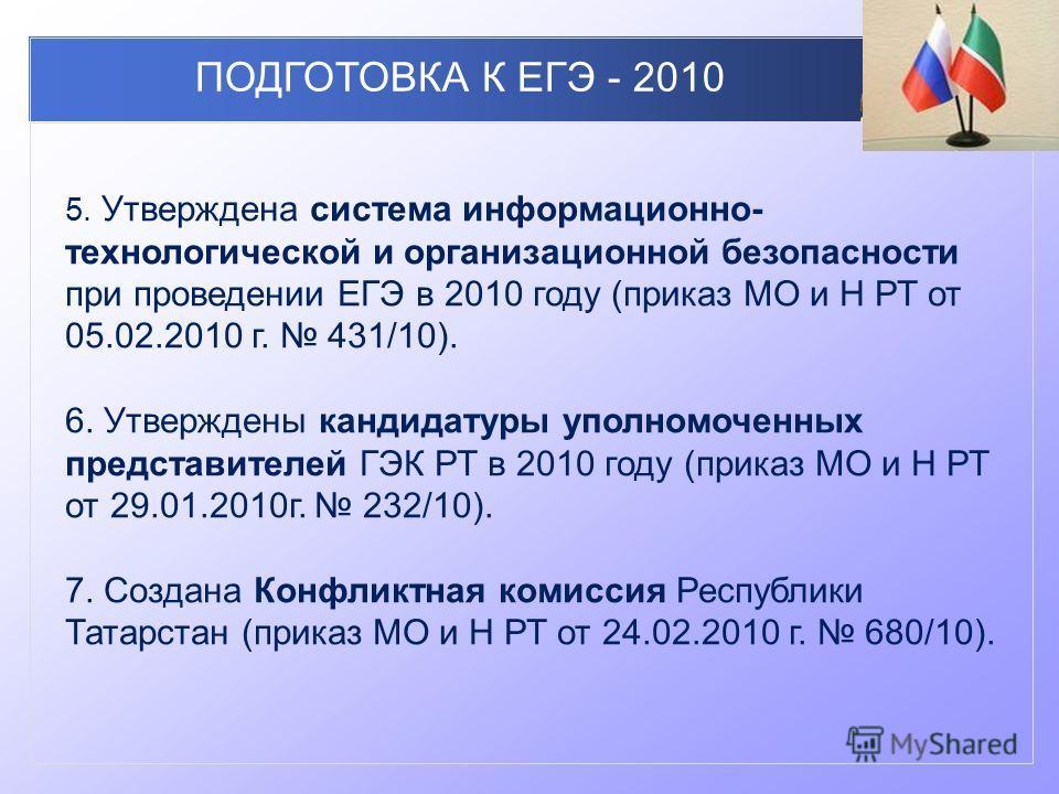 ПОДГОТОВКА К ЕГЭ - 2010 5. Утверждена система информационно- технологической и организационной безопасности при проведении ЕГЭ в 2010 году (приказ МО и Н РТ от 05.02.2010 г. 431/10). 6. Утверждены кандидатуры уполномоченных представителей ГЭК РТ в 20