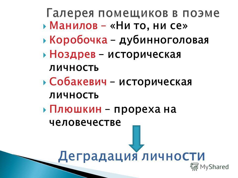 Манилов – «Ни то, ни се» Коробочка – дубинноголовая Ноздрев – историческая личность Собакевич – историческая личность Плюшкин – прореха на человечестве Деградация лично сти