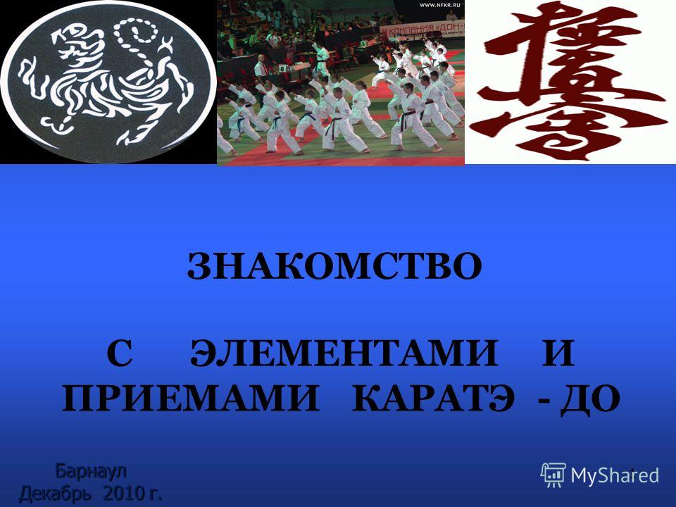 С ЭЛЕМЕНТАМИ И ПРИЕМАМИ КАРАТЭ - ДО ЗНАКОМСТВО 1 Барнаул Декабрь 2010 г.