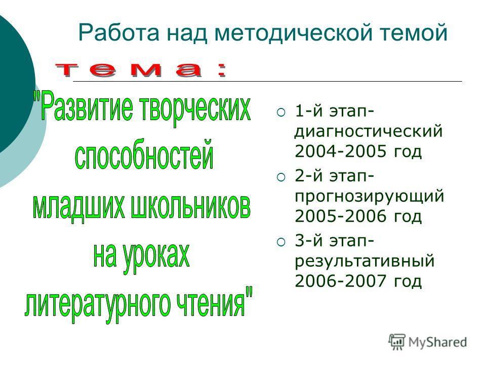 Работа над методической темой 1-й этап- диагностический 2004-2005 год 2-й этап- прогнозирующий 2005-2006 год 3-й этап- результативный 2006-2007 год